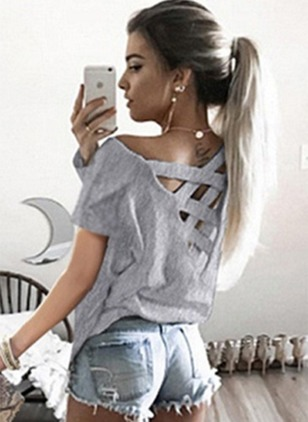 Solid Sexy Others Short Sleeve Blouses