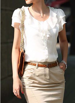 Solid Vintage Cotton Round Neckline Short Sleeve Blouses