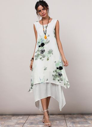 Floral Appliques Sleeveless High Low A-line Dress