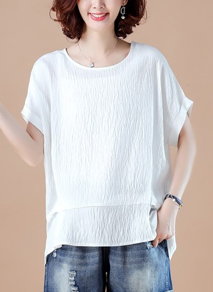 Cotton Linen Solid Round Neck Short Sleeve T-shirts