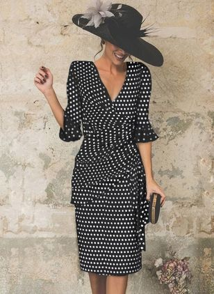 Basic Polka Dot Half Sleeve Midi X-line Dress