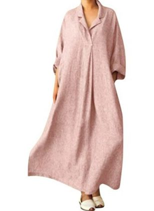 Arabian Solid Tunic Collar Shift Dress (1539452)