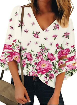 Floral Casual V-Neckline 3/4 Sleeves Blouses (4072065)