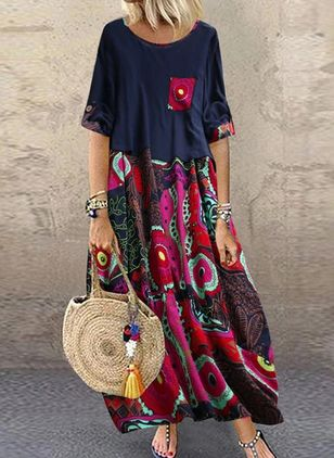 Casual Floral Tunic Round Neckline Shift Dress (100002210)