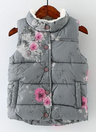 Girls' Vintage Floral High Neckline Coats