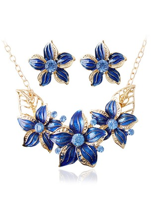 Floral Round Crystal Necklace Earring Jewelry Sets