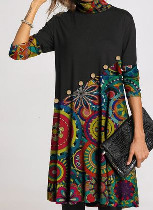 Casual Floral Tunic Draped Neckline Shift Dress (122030484)