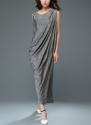 Solid Sleeveless Maxi Shift Dress