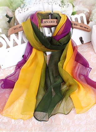 Casual Polyester Color Block Scarves