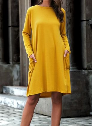 Casual Solid Tunic Round Neckline A-line Dress (100546542)