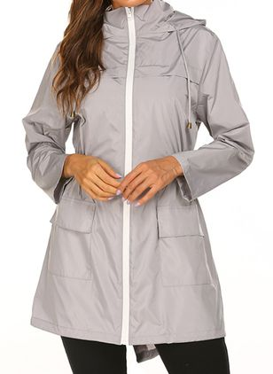 Long Sleeve Hooded Zipper Pockets Coats (110711293)