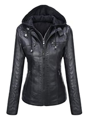Long Sleeve Hooded Zipper Pockets Leather Coats (127657100)