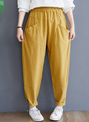Casual Straight Pockets High Waist Linen Pants (147221459)