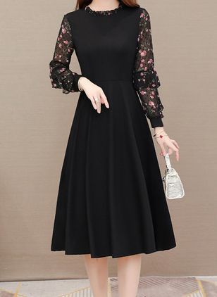 Elegant Floral Round Neckline Knee-Length X-line Dress (111852492)