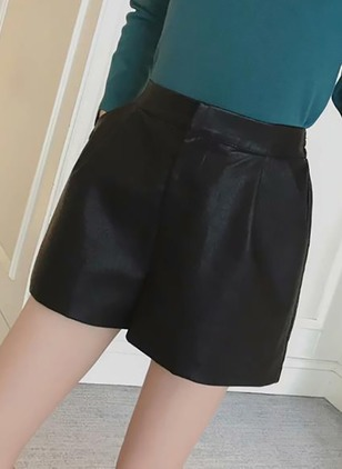 PU Solid Above Knee Pockets Skirts