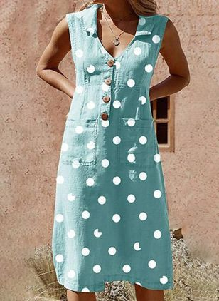 Casual Polka Dot Pockets Tunic Shift Dress (1487674)