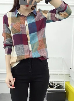 Check Cotton Collar Long Sleeve Blouses