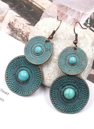 Casual Round No Stone Dangle Earrings (104147625)