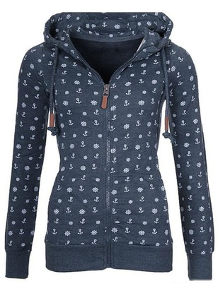 Print Casual Polyester Hooded Sweatshirts