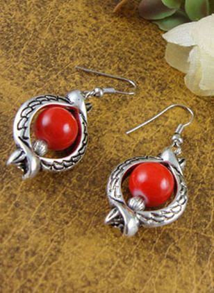 Ball Gemstone Dangle Earrings