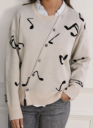 Round Neckline Geometric Elegant Loose Regular Buttons Sweaters (4101360)