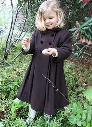 Girls' Vintage Solid Collar Coats