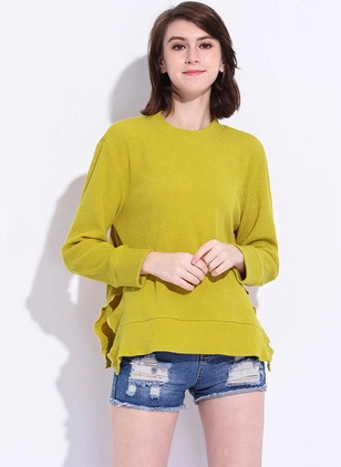 Polyester Solid Round Neck 3/4 Sleeves Casual T-shirts