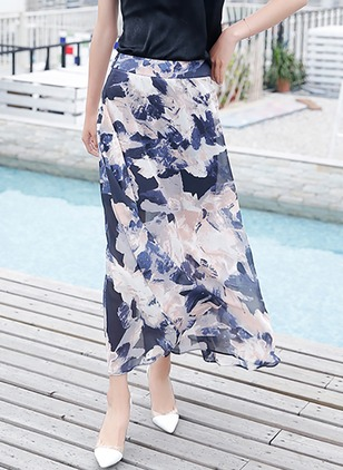 Chiffon Floral Maxi None Skirts