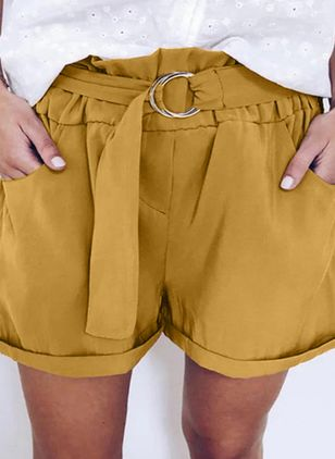 Casual Straight Pockets High Waist Polyester Pants Shorts (147220853)