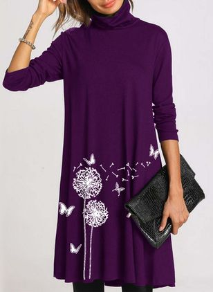 Casual Floral Shirt Round Neckline Shift Dress (111109690)