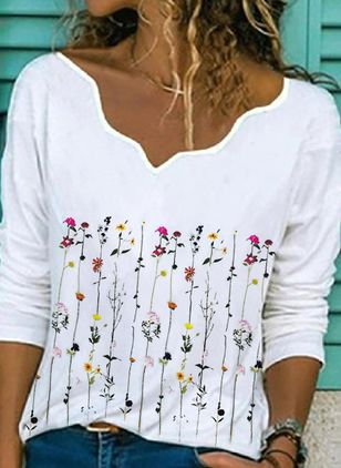 Floral Casual V-Neckline Long Sleeve Blouses (101240832)