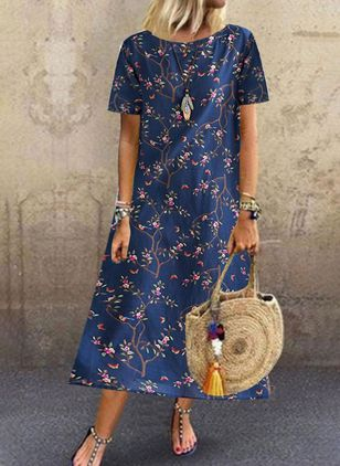 Casual Floral Tunic Round Neckline A-line Dress (100038347)