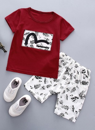 Boys' Patchwork Daily Short Sleeve Clothing Sets