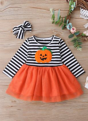 Girls' Halloween Stripe Holiday Long Sleeve Clothing Sets (111109770)