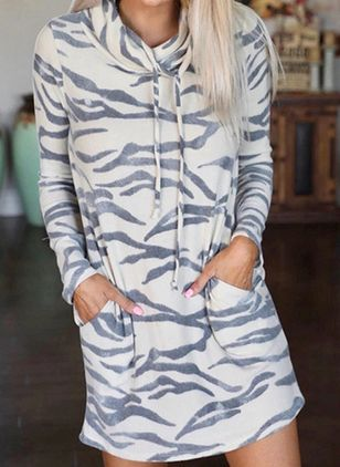 Casual Animal Sweatershirt Draped Neckline Shift Dress (128230254)