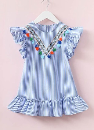 Girls' Stripe Going Out Cap Sleeve Dresses