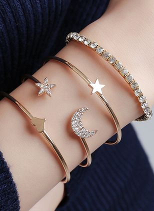 Casual Moon Star No Stone Cuff Bracelets (111852775)