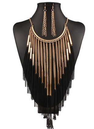Tassel Round No Stone Necklace Earring Jewelry Sets