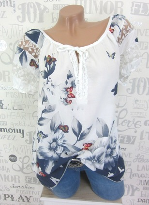 Polyester Floral Round Neck Short Sleeve T-shirts