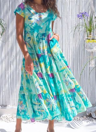 Casual Floral Round Neckline Maxi Shift Dress (146949433)