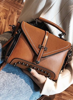 Shoulder PU Studded Double Handle Bags