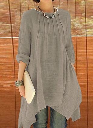 Solid Half Sleeve High Low Shift Dress