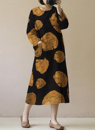Casual Floral Tunic Round Neckline Shift Dress (146643280)