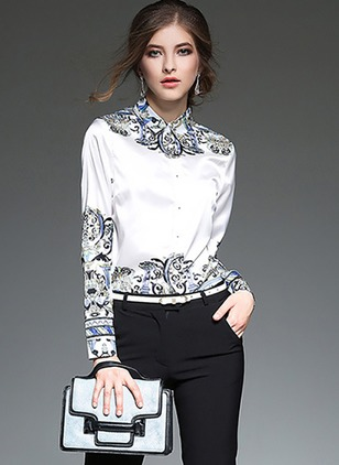 Floral Vintage Cotton Others Long Sleeve Blouses