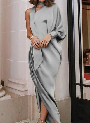 Solid Long Sleeve High Low Sheath Dress