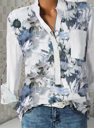 Floral Casual V-Neckline Long Sleeve Blouses (146893115)
