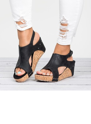 Buckle Hollow-out Split Joint Slingbacks PU Wedge Heel Shoes