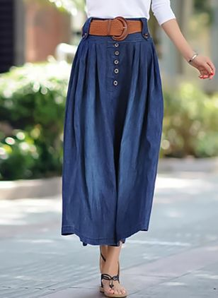 Solid Mid-Calf Casual Buttons Skirts