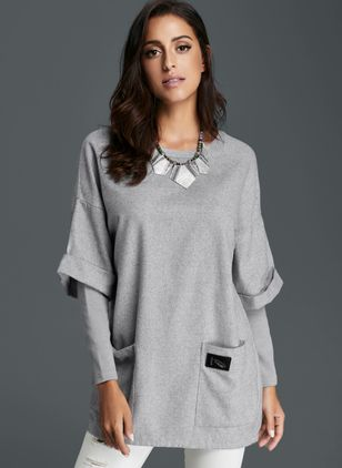 Round Neckline Solid Loose Pockets Shift Sweaters