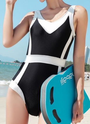 Polyester Color Block One-piece Swimwear (148012668)